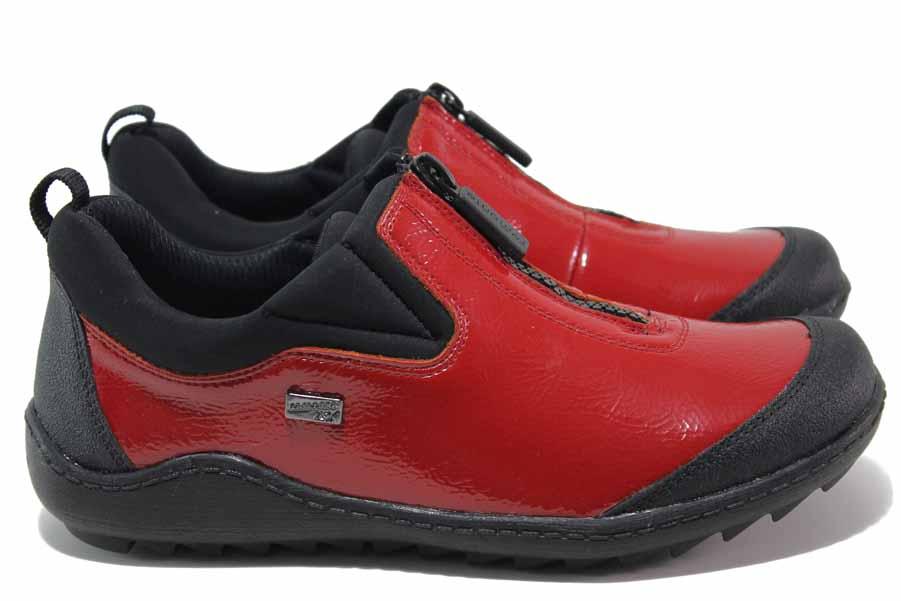 Încălțăminte femei cu talpă plată - piele-eco cu lac - roșu - SM116950